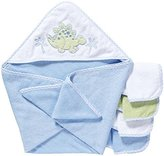 SpaSilk 100% Cotton Hooded Terry Bath Towel with 4 Washcloths-Dinosaur Blue/Green