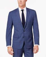 Ryan Seacrest Distinction Men's Slim-Fit Blue Herringbone Plaid Suit Jacket, Created for Macy's