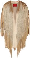 Tamara Mellon Fringed suede-trimmed silk-charmeuse kimono jacket
