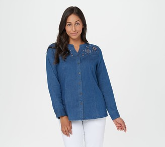 Denim & Co. Studio by Embroidered Button-Up Denim Shirt