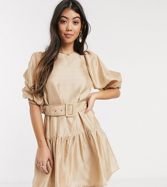 Vero Moda Petite smock dress with belt and volume sleeve in beige