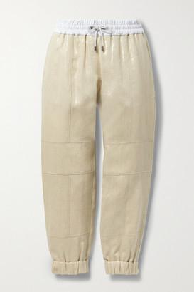 Brunello Cucinelli Cotton-blend Jersey-trimmed Metallic Linen Track Pants - Gold