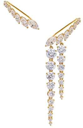 Adriana Orsini 18K Goldplated & Cubic Zirconia Mismatched Ear Crawlers