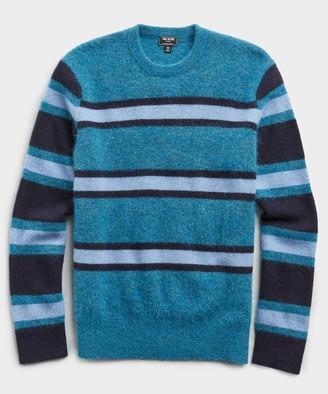Todd Snyder Color Block Alpaca Wool Sweater in Teal