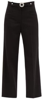 Miu Miu Crystal Embellished Tailored Wool Blend Trousers - Womens - Black