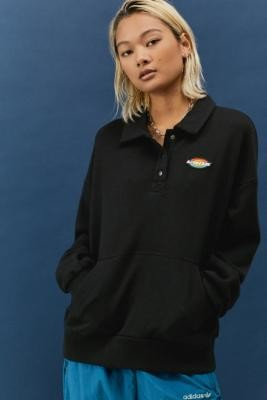 Vans Black Dome Grown Polo Fleece Sweatshirt - Black XS at Urban Outfitters