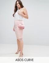 Asos Scuba Pencil Skirt with Lace Hem