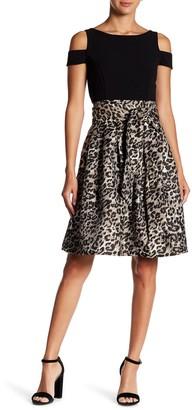 Brinker & Eliza Cold Shoulder Contrast Skirt Dress