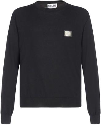 Moschino Logo Plaque Crewneck Sweater