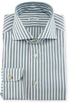 Kiton Rope-Striped Woven Dress Shirt, White/Navy/Green