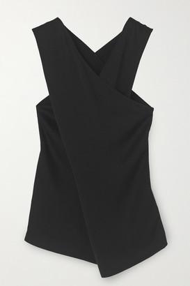 By Malene Birger Bosea Draped Wrap-effect Crepe Blouse - Black
