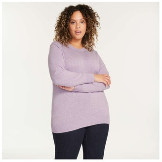 Joe Fresh Women+ Cashmere-Blend Sweater, Light Purple Mix (Size 3X)