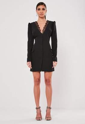 Missguided Black Plunge Lace Blazer Dress