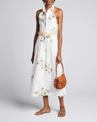 Zimmermann Kirra Collared Floral Belted Halter Dress