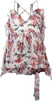 MSGM floral print V-neck top - women - Silk/Polyester - 40