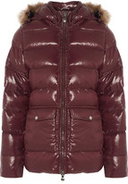 Pyrenex Authentic Faux Fur-trimmed Quilted Glossed-shell Down Jacket - Merlot