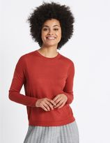 Marks and Spencer Round Neck Ribbed Sleeve Jumper