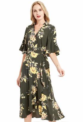 Basic Model Long Sleeve Midi Dresses for Women Casual V Neck Button Up Belted Dress