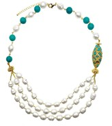 Freshwater Pearls With Turquoises Double Strands Necklace