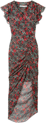 Veronica Beard Cecile Ruched Floral-print Silk-chiffon Dress