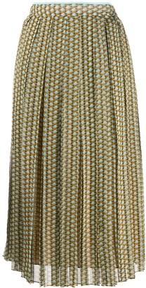 Fendi pleated patterned skirt