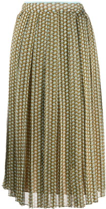 Fendi mini Karligraphy motif pleated skirt