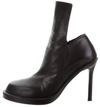 Ann Demeulemeester Leather Round-Toe Ankle Boots