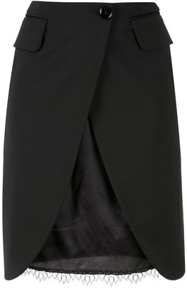 MM6 MAISON MARGIELA split-front double-layer skirt