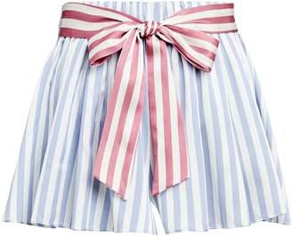 Caroline Constas Silk Satin Belted Shorts