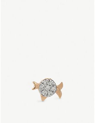 Selfridges Kismet by Milka Pisces 14ct rose-gold and diamond single earring