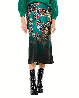 Alice + Olivia Maeve Floral Print Slip Skirt