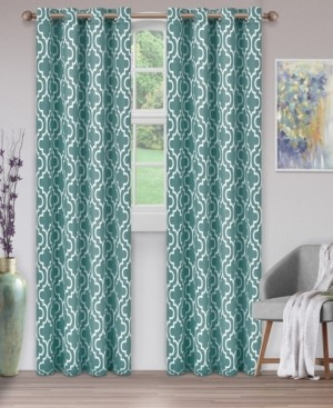 """Superior Soft Quality Woven, Trellis Collection Blackout Thermal Grommet Curtain Panel Pair, Set of 2, 52"""" x 96"""""""