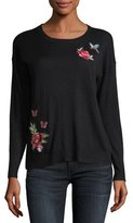 Joie Audrea Crewneck Sweater w/ Floral Embroidery