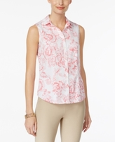 Charter Club Petite Printed Pleated Blouse, Created for Macy's