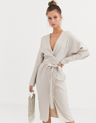 Asos Design DESIGN midi dress with batwing sleeve and wrap waist in satin-Gold