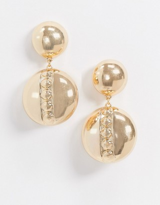 ASOS DESIGN earrings with ball stud drop in gold tone