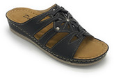 Delic8 DELIC8 Women's Sandals BLACK - Black Flower-Detail Rhinestone Bonita Slide - Women