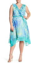 Sandra Darren Printed Chiffon A Line Dress (Plus Size)