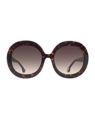 Alice + Olivia Melrose Round Sunglasses, Brown Tortoise