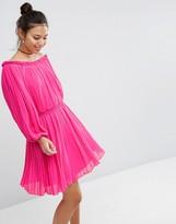Asos Pleated Off Shoulder Dress
