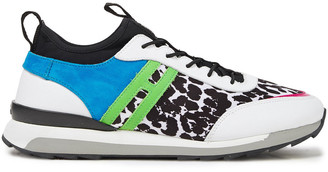 Hogan Suede, Leather And Leopard-print Twill Slip-on Sneakers