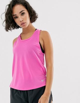 Nike Running miler tank in pink-Black