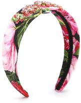 Dolce & Gabbana rose print headband - kids - Viscose/Cotton/Plastic - One Size