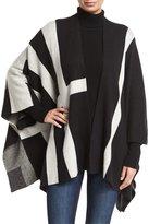 Neiman Marcus Open-Front Multi-Striped Cardigan, Eggshell/Black
