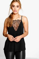 Boohoo Plus Emily Lace Detail Cami Top black