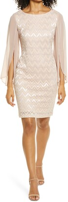 Connected Apparel Lace Overlay Sheath Dress