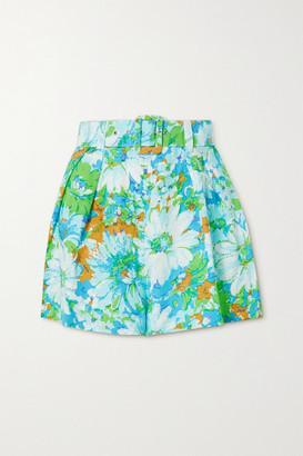 Faithfull The Brand Net Sustain Priscilla Belted Floral-print Linen Shorts - Blue
