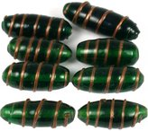 Generic Green & Gold Stripe Lampwork Tube Glass Beads Approx 8