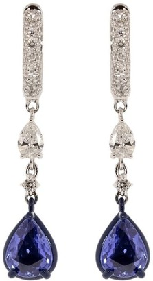MARIANI 18kt White Gold Diamond And Blue Sapphire Drop Earrings