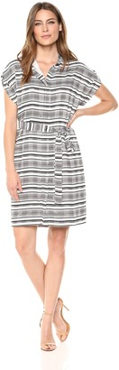 Lark & Ro Women's Short Sleeve Hidden Placket Shirt Dress